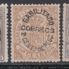 Sellos: FILIPINAS, 1881 - 1888 EDIFIL Nº 66H, 66J, 66K, *HABILITADOS PARA CORREOS*. Lote 152328170