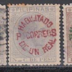 Sellos: FILIPINAS, 1881 - 1888 EDIFIL Nº 66P, 66R, 66S *HABILITADOS PARA CORREOS*. Lote 152331090