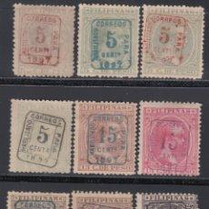Sellos: FILIPINAS, 1898 EDIFIL Nº 130A, 130B / 130J , *HABILITADOS PARA CORREOS*. Lote 152340842