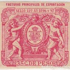 Timbres: IMP-2. CUBA ESPAÑA. SELLO DE IMPUESTOS GENERALES 1896-97. FACTURAS PRINCIPALES DE EXPORTACIÓN.. Lote 153280961