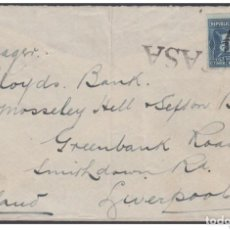 Sellos: REP-266 CUBA REPUBLICA REVENUE. CIRCA 1920. FRONT COVER 5C TIMBRE NACIONAL POSTAGE USE TO ENGLAND.. Lote 154064770