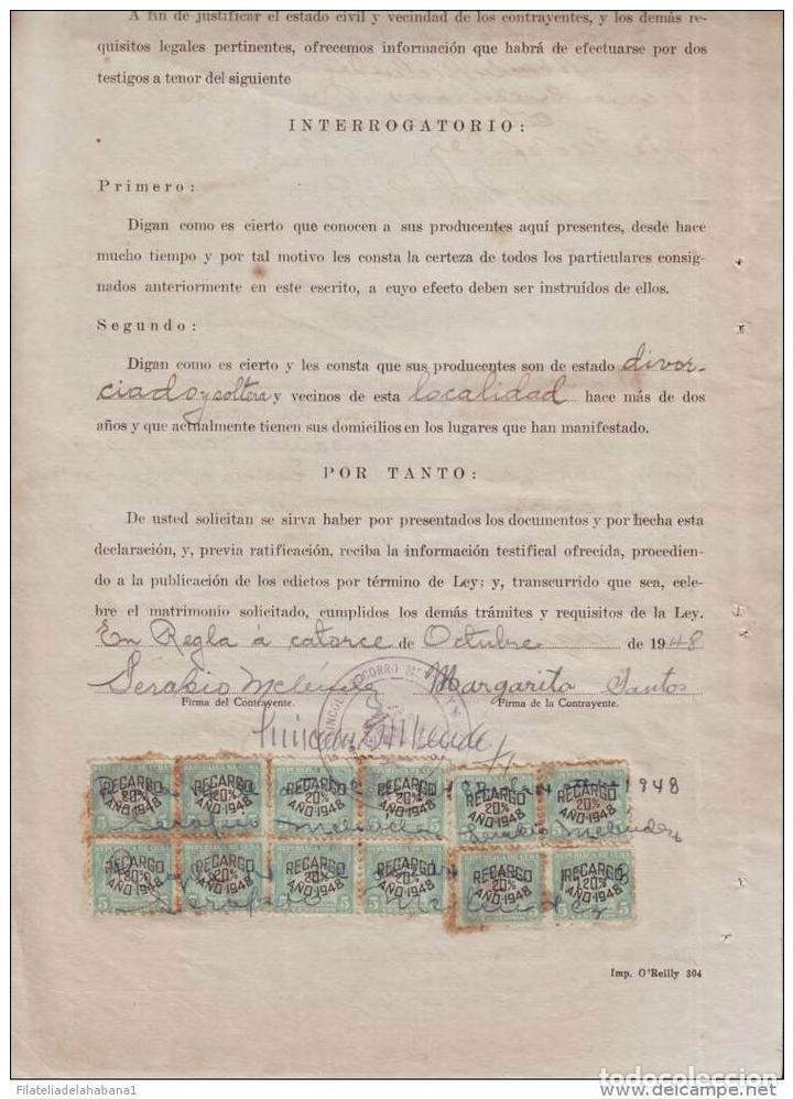 Sellos: REP-62 CUBA REVENUE (LG-527). SELLOS DEL TIMBRE DOC. 5c. 1948. - Foto 2 - 154757890