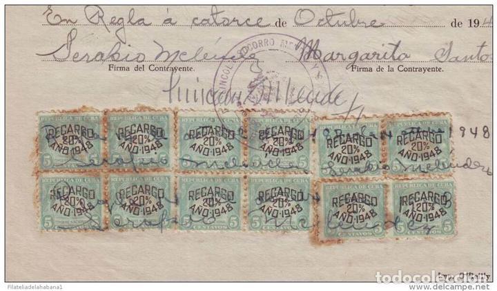 Sellos: REP-62 CUBA REVENUE (LG-527). SELLOS DEL TIMBRE DOC. 5c. 1948. - Foto 3 - 154757890