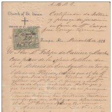 Sellos: TMO-20 CUBA SPAIN ESPAÑA (LG-500). REVENUE TIMBRE MOVIL 1888 DOC. FRANCE SINGLE CERTIFICATE.. Lote 154757898