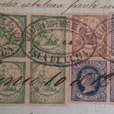 Sellos: SELLOS FISCALES Y POSTALES. MANUSCRITO LICENCIA COMERCIAL. FIRMAS. CUÑOS. CUBA. AÑO 1865.. Lote 154963954