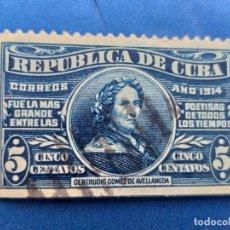 Sellos: SELLO DE CUBA. AÑO 1914. AEREO. Nº 174 GERTRUDIS GOMEZ DE AVELLANEDA. MATASELLO. . Lote 156014378