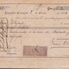 Sellos: GIR-36 CUBA SPAIN ESPAÑA (LG-1346) 1886 5C GIROS REVENUE. SUGAR MILLS COROJAL DOC.. Lote 156790898