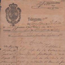 Sellos: TELEG-230 CUBA SPAIN ESPAÑA. LG-1302. TELEGRAPH TELEGRAM TELEGRAMA 1875 RAILROAD INFORMATION.. Lote 156791357