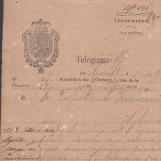 Sellos: TELEG-231 CUBA SPAIN ESPAÑA. LG-1303. TELEGRAPH TELEGRAM TELEGRAMA 1874 RAILROAD INFORMATION.. Lote 156791361