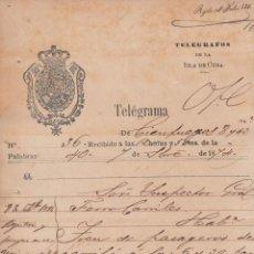 Sellos: TELEG-234 CUBA SPAIN ESPAÑA. LG-1306. TELEGRAPH TELEGRAM TELEGRAMA 1874 RAILROAD INFORMATION.. Lote 156791373