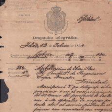 Sellos: TELEG-237 CUBA SPAIN ESPAÑA. LG-1309. TELEGRAPH TELEGRAM TELEGRAMA 1864 RAILROAD INFORMATION.. Lote 156791461