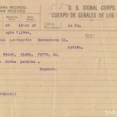 Sellos: TELEG-244 CUBA US SIGNAL CORPS. LG-1316. TELEGRAPH TELEGRAM TELEGRAMA 1900.. Lote 156791489