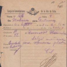 Sellos: TELEG-261 CUBA (LG1495) SPAIN ANT. TELEGRAM 1897. TIPO I. TELEGRAPH. MODELO DE TELEGRAMA.. Lote 156791497