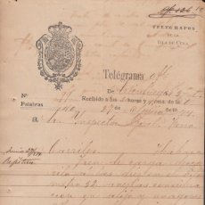 Sellos: TELEG-264 CUBA (LG1467) SPAIN ANT. TELEGRAM 1874. RAILROAD CRASH FERROCARRIL TELEGRAPH. Lote 156791585