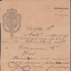 Sellos: TELEG-265 CUBA (LG1498) SPAIN ANT. TELEGRAM 1874. TIPO VI TELEGRAPH MODELO DE TELEGRAMA. Lote 156791589