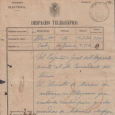 Sellos: TELEG-267 SPAIN ANT. CUBA (LG1500) TELEGRAM CADIZ 1867. ESPAÑA TELEGRAPH. MODELO TELEGRAMA.. Lote 156791597