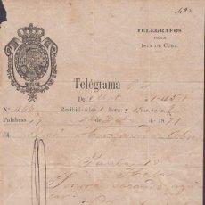 Sellos: TELEG-270 CUBA (LG1503) SPAIN ANT. TELEGRAM 1877 TIPO XI TELEGRAPH MODELO DE TELEGRAMA. Lote 156791609