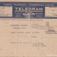 Sellos: TELEG-274 CUBA (LG1507) REPUBLIC TELEGRAM TELEGRAPH 2 MODELOS DE TELEGRAMA. Lote 156791697