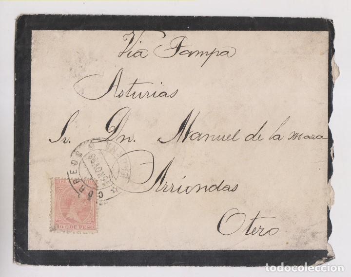 SOBRE. HABANA, CUBA. 1893. A ASTURIAS. VÍA TAMPA (Sellos - España - Colonias Españolas y Dependencias - América - Cuba)
