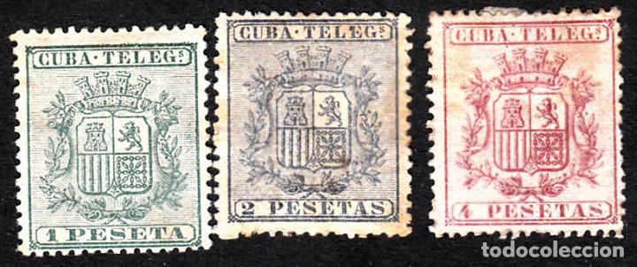CUBA TELEGRAFOS NUMS 32 A 34 SIN GOMA Y CON FIJASELLOS (Sellos - España - Colonias Españolas y Dependencias - América - Cuba)