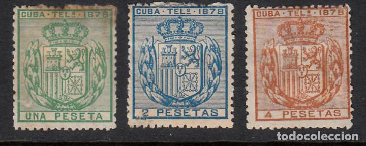 CUBA TELEGRAFOS NUMS 43 A 45 SIN GOMA Y CON FIJASELLOS (Sellos - España - Colonias Españolas y Dependencias - América - Cuba)