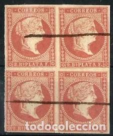 1857 ANTILLAS ESPAÑOLAS Nº 9 EN USADO BLOQUE 4 SELLOS (Sellos - España - Colonias Españolas y Dependencias - América - Antillas)