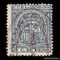 Sellos: SELLOS. ESPAÑA.CUBA. 1889-1899. ESCUDO ESPAÑA.FISCALES.5C. DE PESO AZUL. USADO.. Lote 170400744