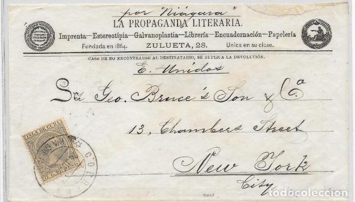 CUBA EDIFIL 115. SOBRE ILUSTRADO DIRIGIDO DE LA HABANA A NUEVA YORK 1890 (Sellos - España - Colonias Españolas y Dependencias - América - Cuba)