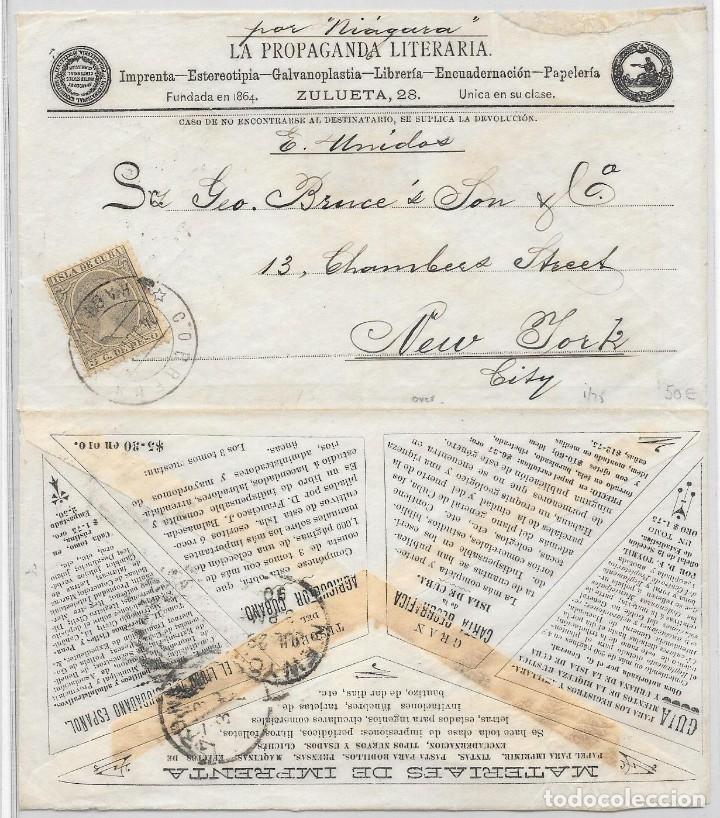Sellos: CUBA EDIFIL 115. SOBRE ILUSTRADO DIRIGIDO DE LA HABANA A NUEVA YORK 1890 - Foto 2 - 172648774