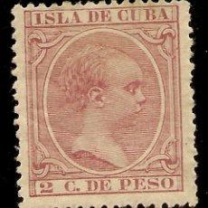 Sellos: COLONIAS ESPAÑOLAS CUBA. EDIFIL 147 (*) MNG 2 CÉNTIMOS CARMÍN ALFONSO XIII 1896/97 NL1186. Lote 173753284