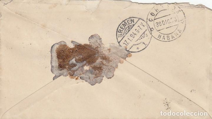 Sellos: CUBA 127(2) en sobre a ALEMANIA en 1893. - Foto 2 - 174166562