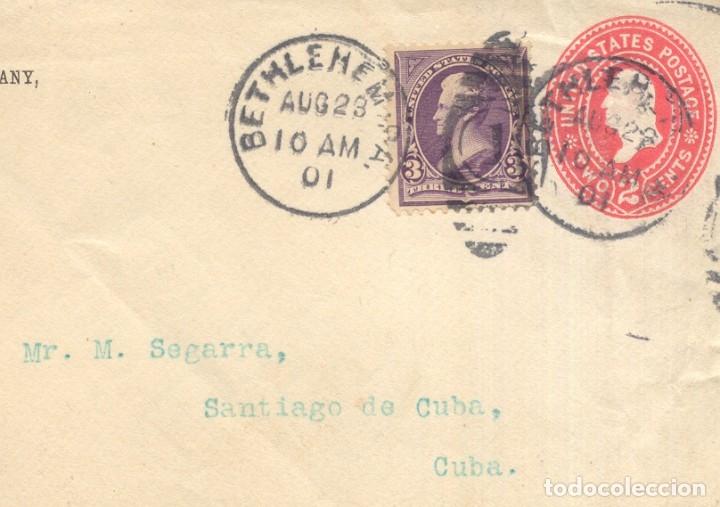 EEUU AÑO 1901 FRONTAL MATASILLOS BETHLEMEM DIRIGIDO A SANTIAGO DE CUBA (Sellos - España - Colonias Españolas y Dependencias - América - Otros)