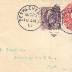 Sellos: EEUU AÑO 1901 FRONTAL MATASILLOS BETHLEMEM DIRIGIDO A SANTIAGO DE CUBA. Lote 174319875