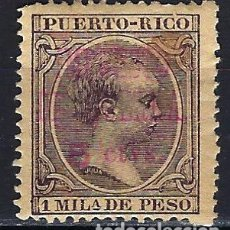 Sellos: PUERTO RICO 1898 ALFONSO XIII - TASA IMPUESTO DE GUERRA 1 MIL. - HABILITADO 5 CTVS - *. Lote 177187670