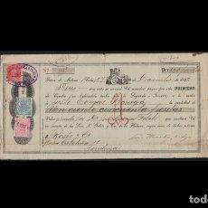 Sellos: CUBA - 1922 - BONITA LETRA DE CAMBIO CON TIMBRES FISCALES Y MOVILES - COBRADA EN BARCELONA - LUJO. Lote 177715348