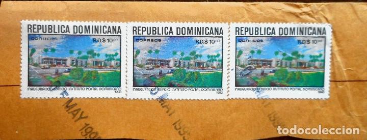 TRES SELLOS DE 10 CENTAVOS DE LA REPÚBLICA DOMINICANA 1993 (Sellos - España - Colonias Españolas y Dependencias - América - Otros)
