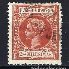 Sellos: PUERTO RICO 1898 - 2 MILÉSIMAS - ALFONSO XIII - EDIFIL 131 - USADO. Lote 178988953