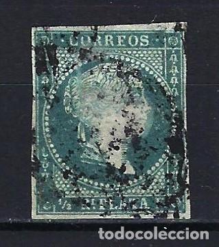 ANTILLAS CUBA 1855 - ISABEL II FILIGRANA DE LAZO - EDIFIL 1 - USADO (Sellos - España - Colonias Españolas y Dependencias - América - Antillas)