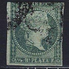 Sellos: ANTILLAS CUBA 1855 - ISABEL II - CON FILIGRANA LAZOS - EDIFIL 1 - USADO. Lote 179392335