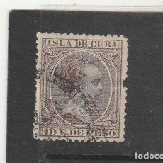 Sellos: CUBA 1890 - EDIFIL NRO. 116 - ALFONSO XIII - 10C. - USADO - FUERTE DOBLEZ Y FALTA DIENTE. Lote 179962306