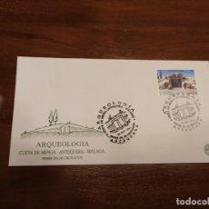 Sellos: AR MUYQUEOLOGIA CUEVA DE MENGA ANTEQUERA MALAGA PRIMER DIA DE CIRCULACION. Lote 182790507
