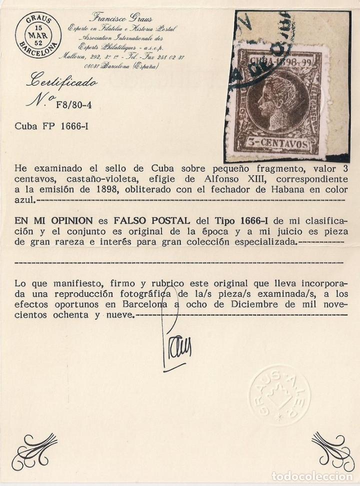 FALSO POSTAL CUBA 3 CENTAVOS EDIFIL 161F - MUY RARO - CERTIFICADO GRAUS (Sellos - España - Colonias Españolas y Dependencias - América - Cuba)