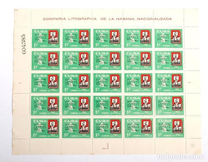 PLIEGO SELLOS CUBA AÑO DE LA EDUCACIÓN. COMPAÑÍA LITOGRÁFICA DE LA HABANA NACIONALIZADA.1961 (Sellos - España - Colonias Españolas y Dependencias - América - Cuba)