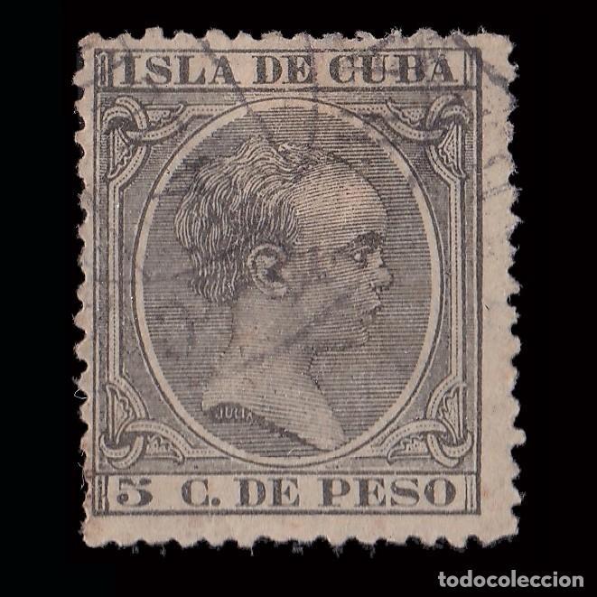 SELLOS ESPAÑA.CUBA 1890.ALFONSO XIII.5CT VERDE GRIS.USADO.EDIF.Nº115 (Sellos - España - Colonias Españolas y Dependencias - América - Cuba)