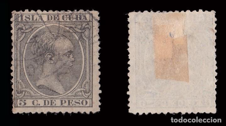 Sellos: Sellos España.CUBA 1890.Alfonso XIII.5ct verde gris.Usado.Edif.nº115 - Foto 2 - 183720537