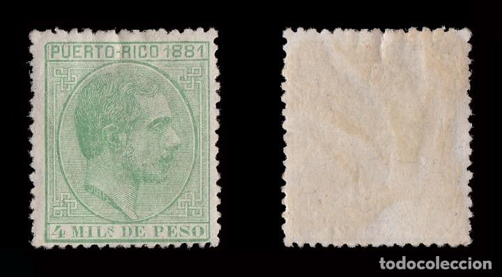 Sellos: Puerto Rico. 1881.Alfonso XIII.4m.verde amarillo. Nuevo* Edifil.45 - Foto 2 - 183758153