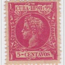 Sellos: 1898-90 CUBA ESPAÑA SPAIN. ALFONSO XIII. 1898. 5C CARMIN ED.163. MNH. GOMA OSCURECIDA.. Lote 234972720