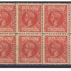 Sellos: 1898-188 CUBA ESPAÑA SPAIN. ALFONSO XIII. AUTONOMIA. 1898. ED.166. 10C BLOCK 10 ORIGINAL GUM.. Lote 240822125