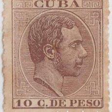 Sellos: 1884-210 CUBA SPAIN. ALFONSO XII. 1884. 10C CASTAÑO. ED.102. PRIMER REGRABADO, NO GUM.. Lote 234972780