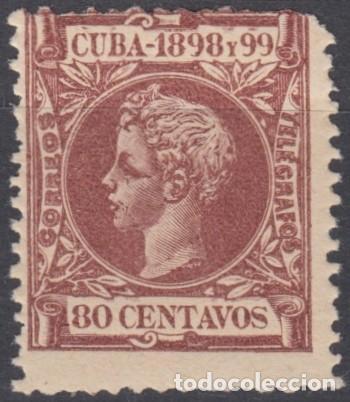 Sellos: 1898-238 CUBA ESPAÑA SPAIN. 80c. AUTONOMIA 1898. ALFONSO XIII. Ed.171. MNH. - Foto 2 - 193911436